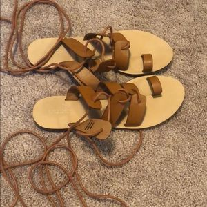 Shoes - Forever 21 6.5 brown gladiator sandals lace up